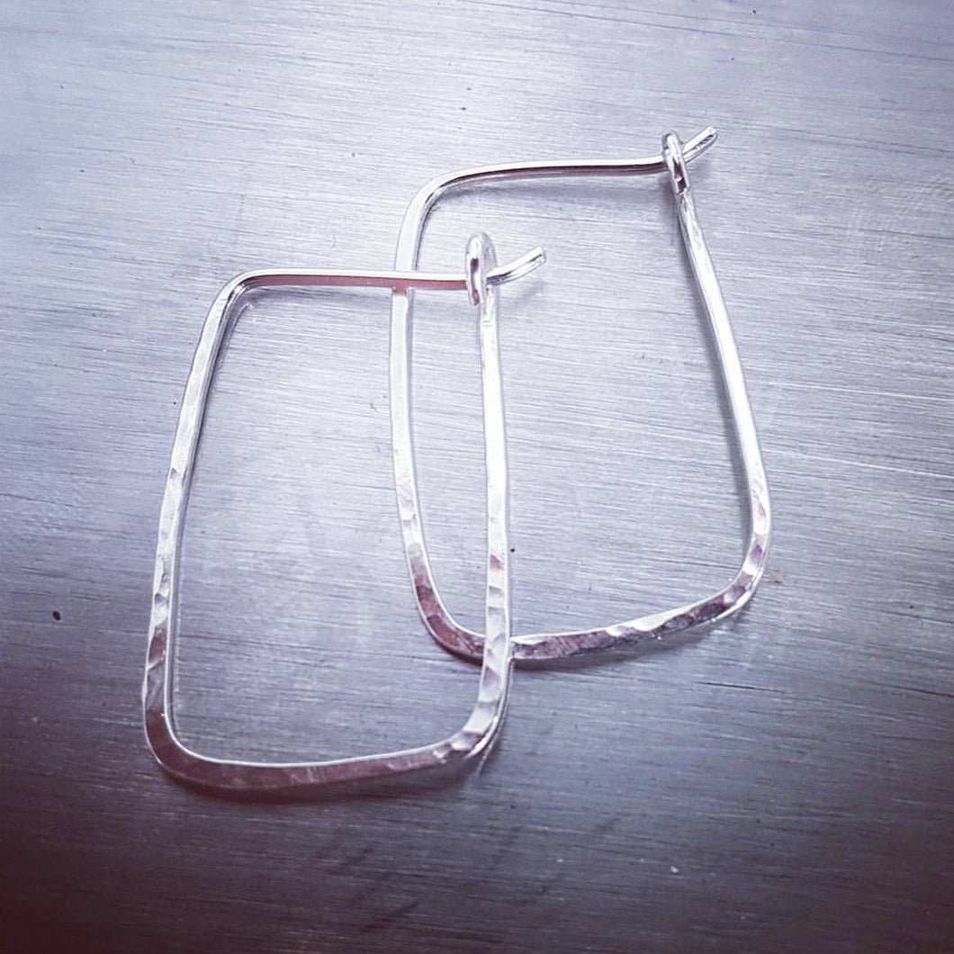 Sterling Silver Hammered Geometric Hoop Earrings - Maxwell Harrison Jewellery - gift idea