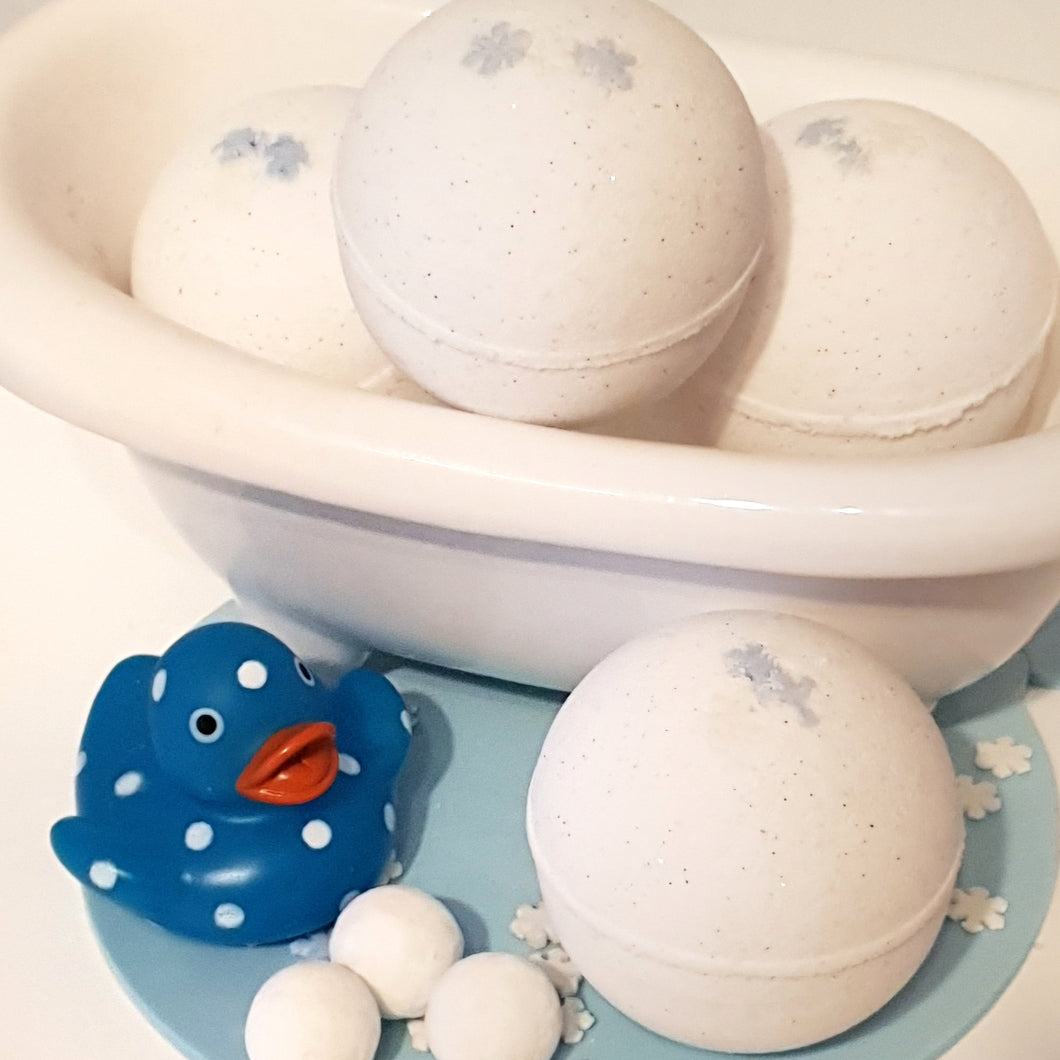 Snowball Bath Bombs - Little Shop of Lathers - handmade bath treat - Christmas gift ideas