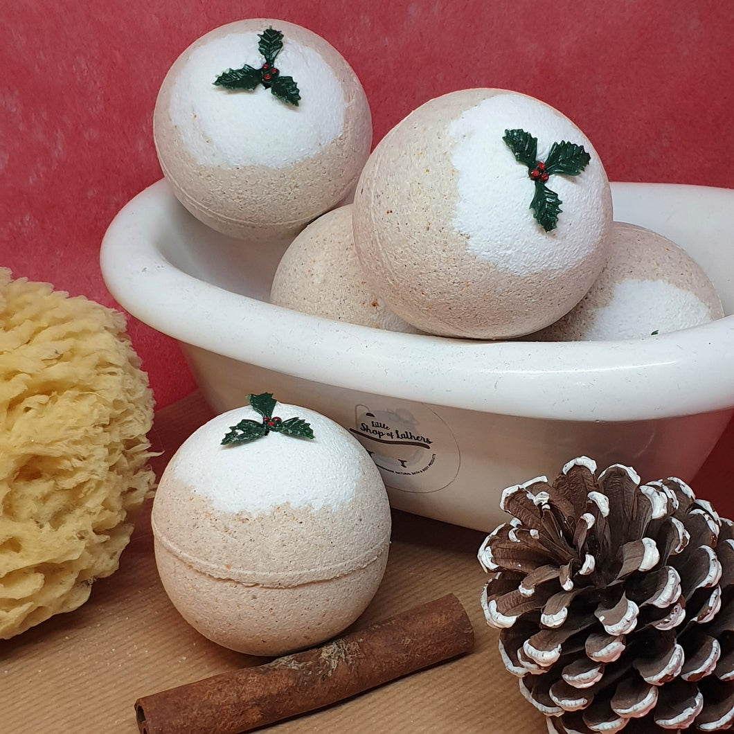 Christmas Pudding Bath Bomb - Little Shop of Lathers - handmade bath treat - Christmas gift ideas
