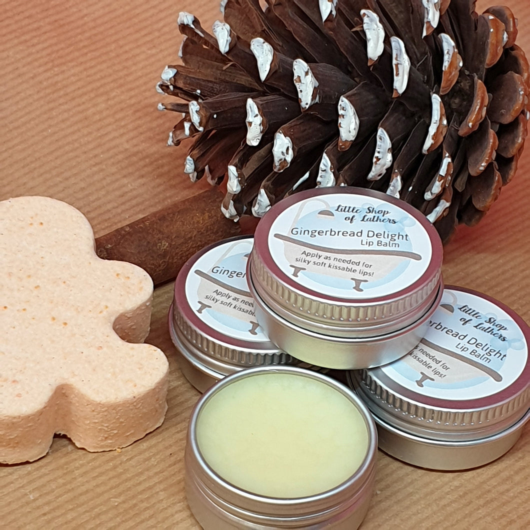 Gingerbread Delight Lip Balm - Little Shop of Lathers - handmade lip treat - Christmas gift ideas
