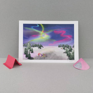 Northern Lights print - Illustrator Kate - A4 print - Adventurers - Aurora Borealis