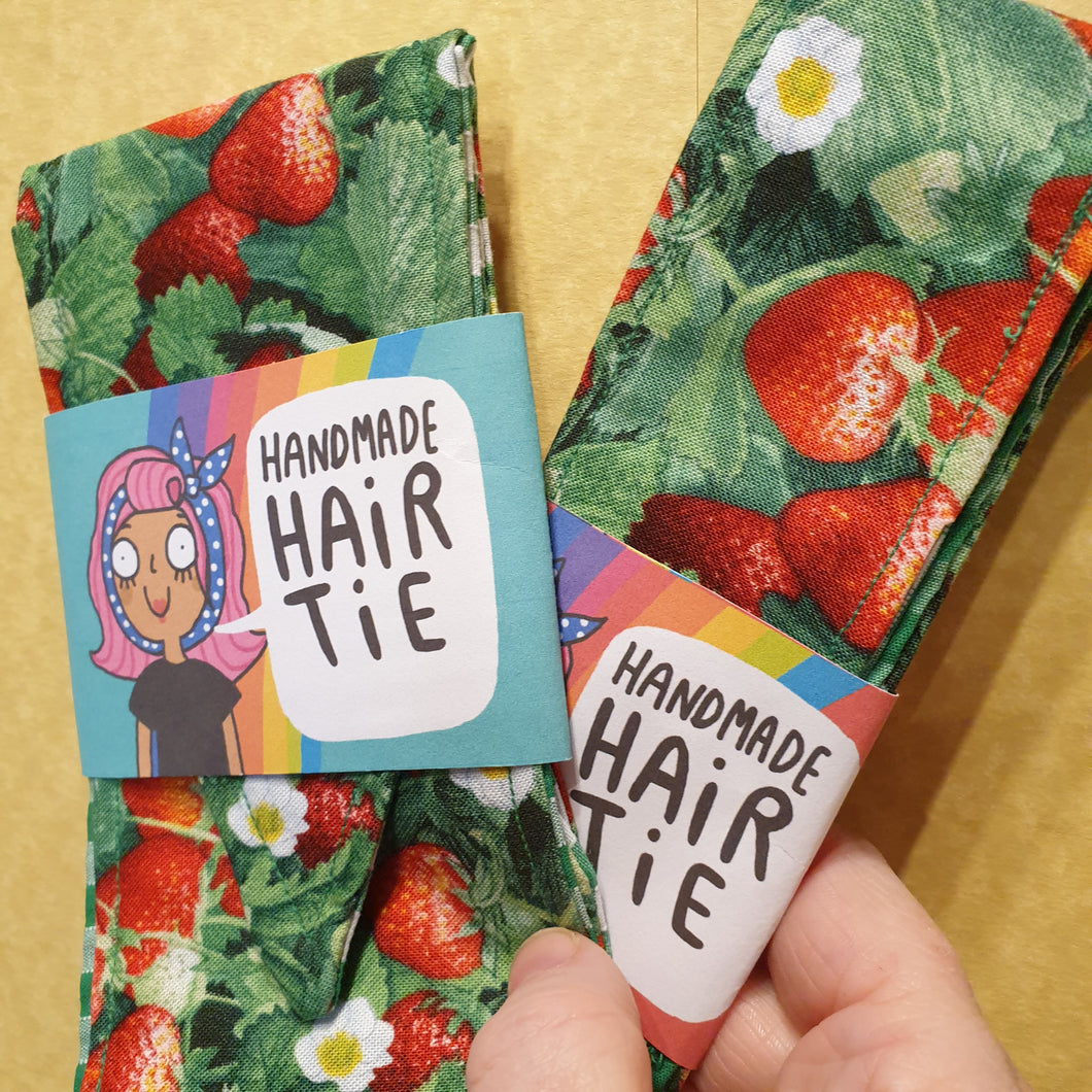 Fabric hair ties - Strawberry patch - Dawny's Sewing Room - Adult and child size