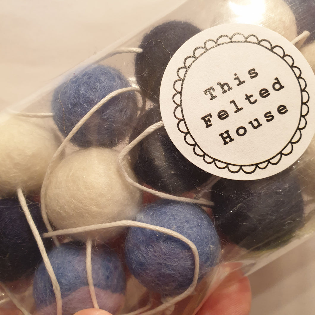 Felt Ball Garland - home decor - shades of blue