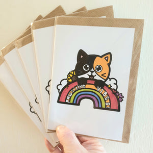 Pawsitive Vibes Greeting Card - cat lovers, rainbows - Innabox - Selfcare