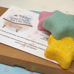 Good Friends are Like Stars - pampering bath bomb gift set - Little Shop of Lathers - friendship