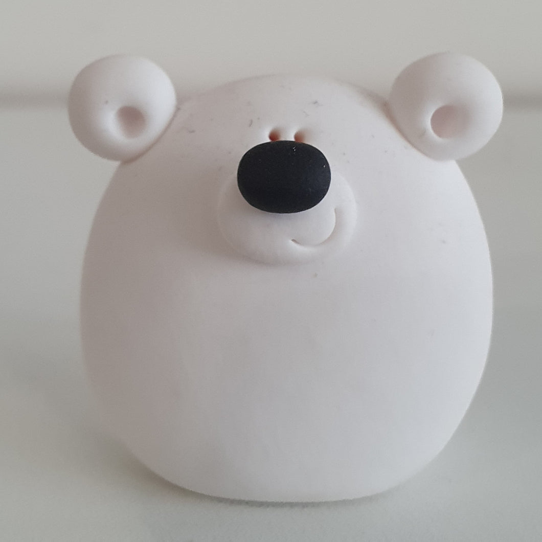 Polar Bear - polymer clay pebble pets - LittleBigNose - animal lovers