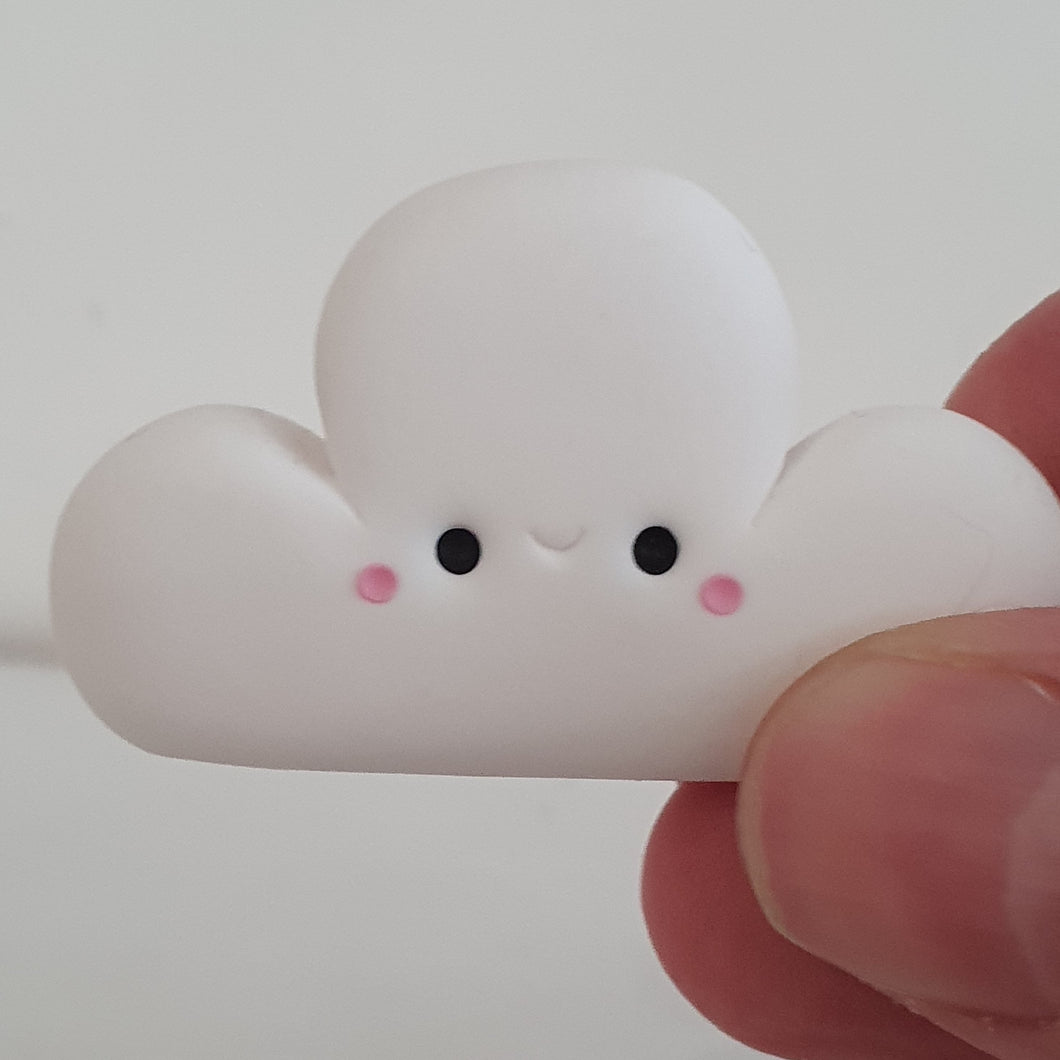 Cloud - polymer clay pebble pets - LittleBigNose - weather