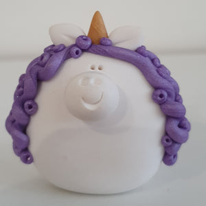 Unicorn - polymer clay pebble pets - LittleBigNose - animal lovers - magical