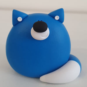Blue Fox - polymer clay pebble pets - LittleBigNose - animal lovers