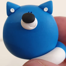 Load image into Gallery viewer, Blue Fox - polymer clay pebble pets - LittleBigNose - animal lovers