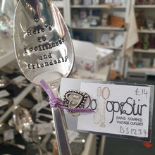 Load image into Gallery viewer, Here's to foolishness and friendship - stamped spoon - Dollop and Stir - sentimental gift idea