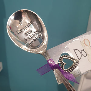 Keeping the bubbly bubbly - stamped spoon - Dollop and Stir - sentimental gift idea - celebrations