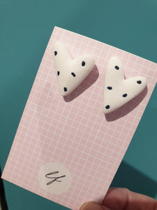 Dalmation Spotty Heart Earrings - Polymer clay - Laura Fernandez Designs