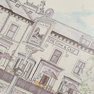 Cow and Calf pub Illustration - A4 print - Art by Arjo - Yorkshire Illustrations
