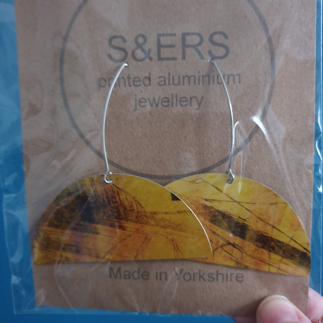 Semi Circle Printed Aluminium Earrings - Sarah Sanders Aluminium Jewellery