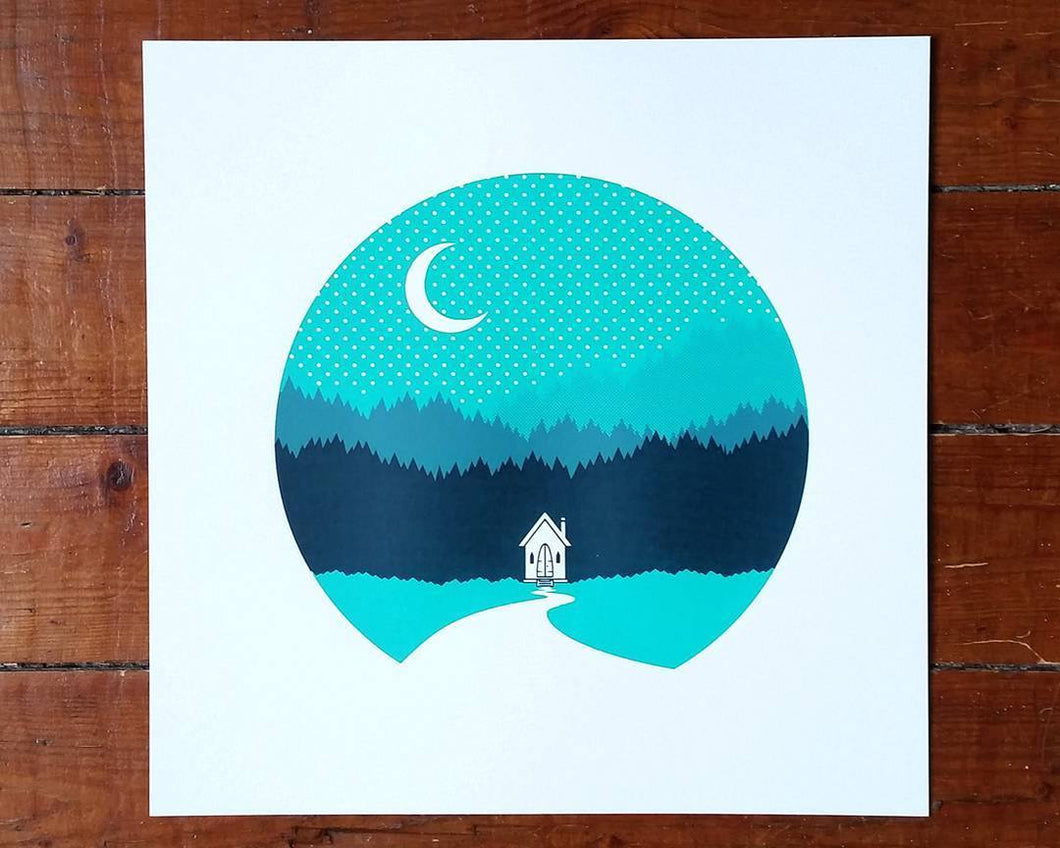 Cabin in the wilderness - Square screen print - Art print  - Adventurers - Scandinavian Design - Or8 Design
