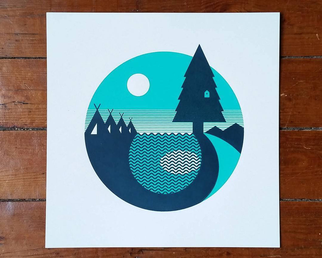 Mini Tents in the Woods square screen print - Art print  - Adventurers - Scandinavian Design - Or8 Design