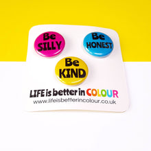 Load image into Gallery viewer, Set of mini badges - Positivity - Life is Better in Colour - lapel pins