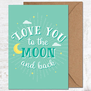 Cute Greetings card - love you to the moon and back - Valentines, Anniversary - Blush and Blossom