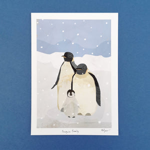 Penguin Family print - Illustrator Kate - Penguin lovers