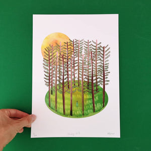 Woodland print - Illustrator Kate - A4 print - Standing Still