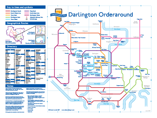 Order Around Pub Map Poster - Darlington Edition - London Underground style Poster - Pub Map York