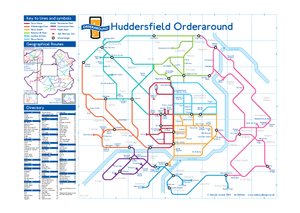 Order Around Pub Map Poster - Huddersfield Edition - London Underground style Poster - Pub Map