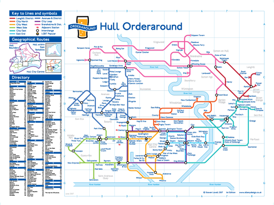 Order Around Pub Map Poster - Hull City Edition - London Underground style Poster - Pub Map