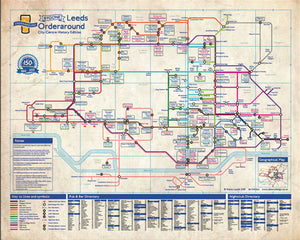 Order Around Leeds Pub Map Poster Bygone Edition - London Underground style Poster - History of Leeds pubs