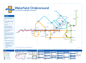 Order Around Pub Map Poster - Wakefield City Edition - London Underground style Poster - Pub Map