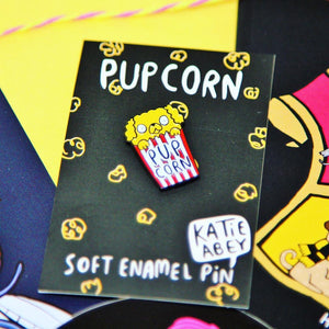 Pupcorn Enamel Pin - Katie Abey - puns and dogs