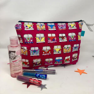 Make Up Bag - Large size - Dawny's Sewing Room - Campervan Fabric Zip up Pouch