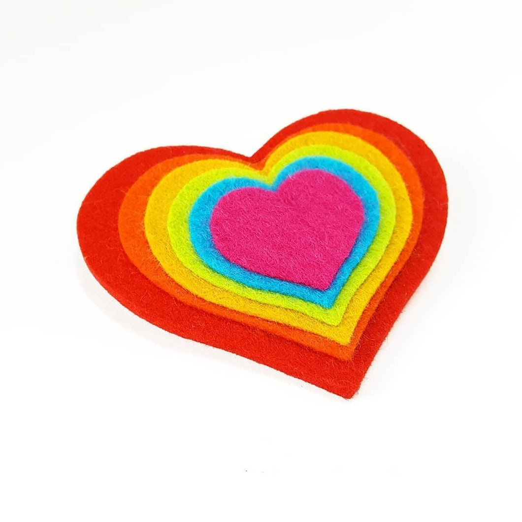 Felt Heart Brooch - Life is Better in Colour - Rainbow - Self Care