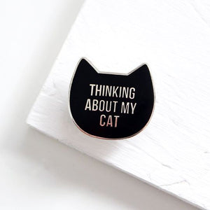 Thinking about my cat enamel pin