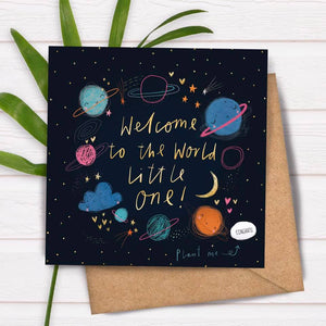 Plantable Bean Greetings Card - New Baby - Welcome to the World