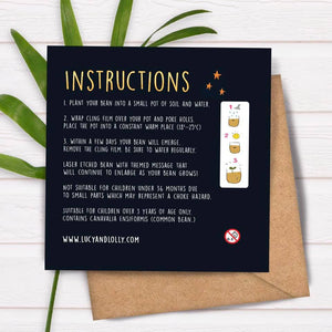 Plantable Bean Greetings Card - Wedding - Brand new Mr and Mrs