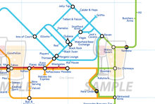 Load image into Gallery viewer, Order Around Pub Map Poster - Wakefield City Edition - London Underground style Poster - Pub Map