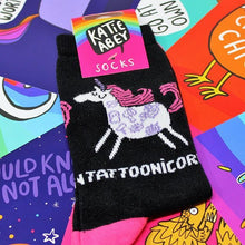 Load image into Gallery viewer, Tattoonicorn Socks - Puns - Katie Abey - Magical Gifts - Unicorn