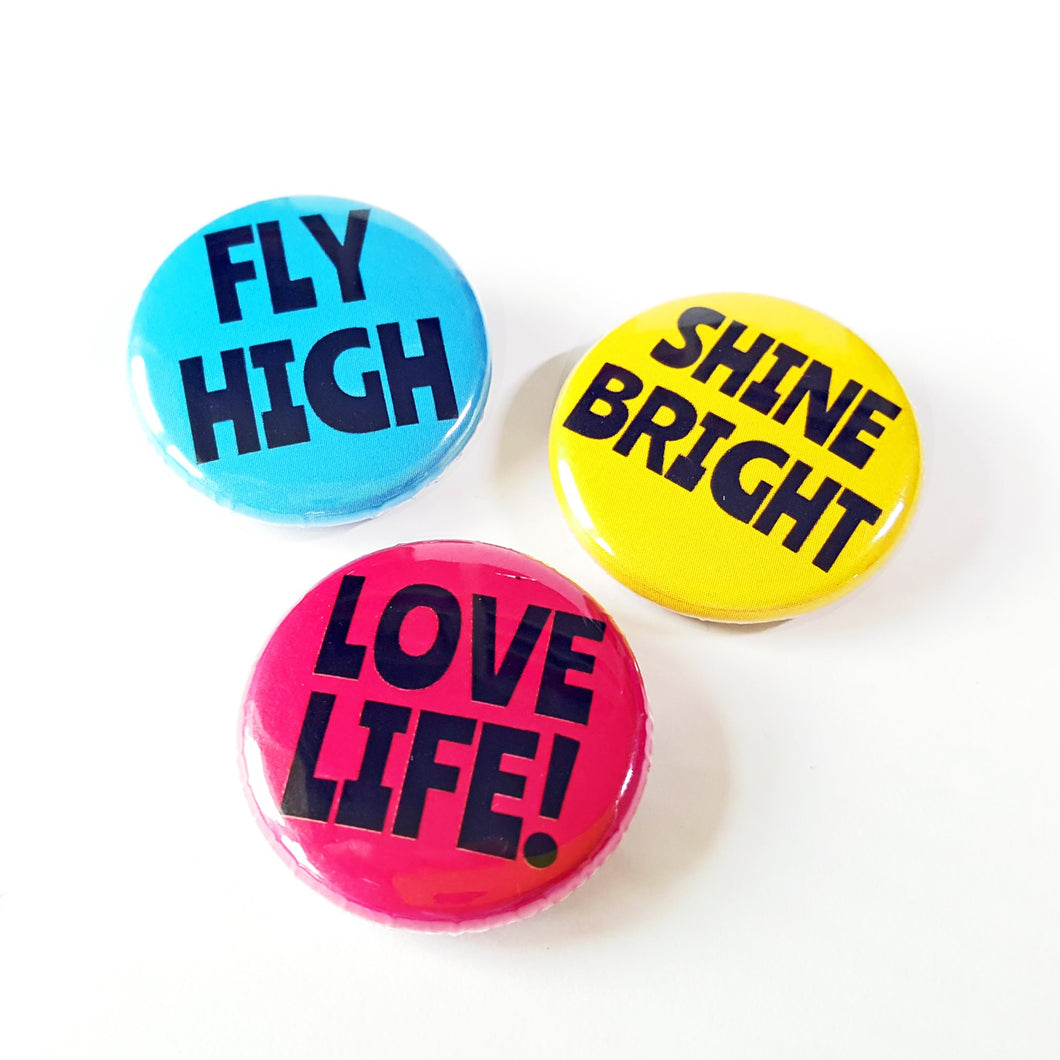 Set of mini badges - Life is Better in Colour - positivity - selfcare