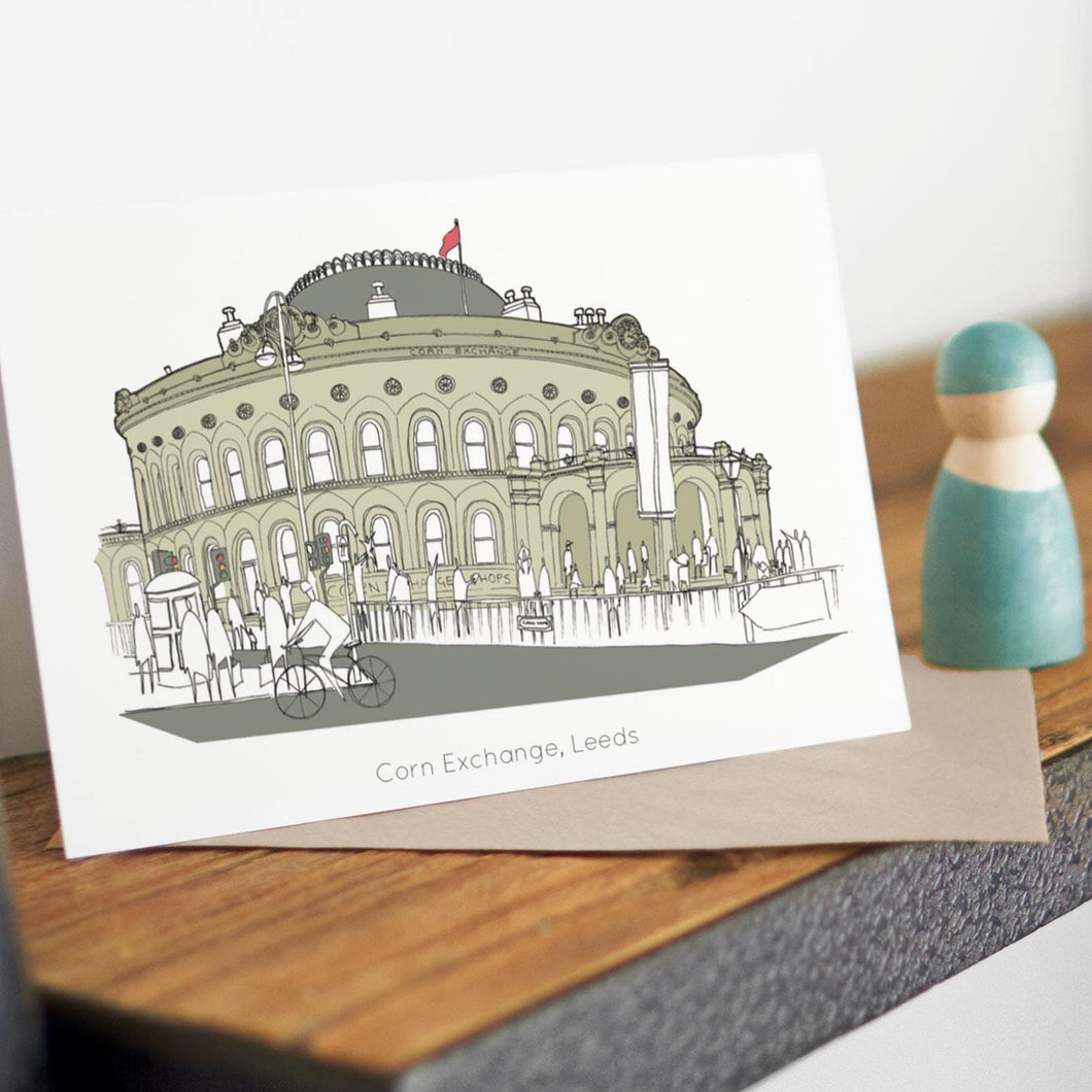 Corn Exchange Card - Accidental Vix Prints - Leeds Illustrations - greetings cards