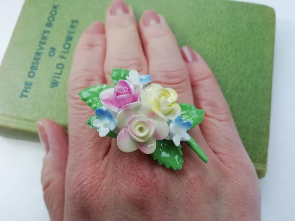 Vintage China Flowers Ring - Urban Magpie - statement china jewellery