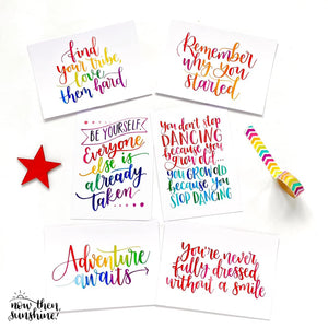 Motivational, Inspirational Notecards pack - Now Then Sunshine - rainbow