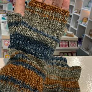 Knitted Fingerless Mittens - adult size - texting gloves - Gemstone Boutique