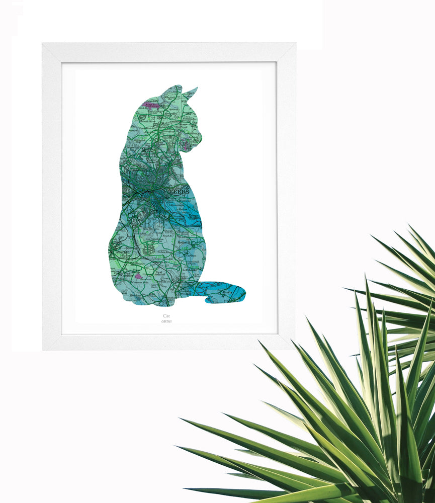 Vintage Map Artwork Framed Print - Cat - Available as Leeds, Yorkshire or Personalised Designs