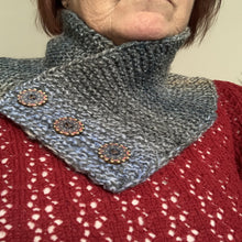 Load image into Gallery viewer, Knitted neck warmers - cowl - adult size - pull-on - button trim - Gemstone Boutique