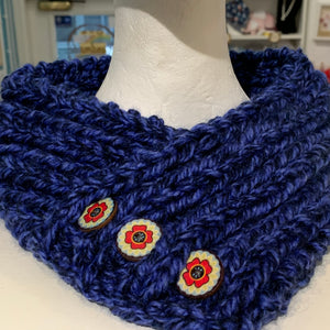 Knitted neck warmers - cowl - adult size - pull-on - button trim - Gemstone Boutique