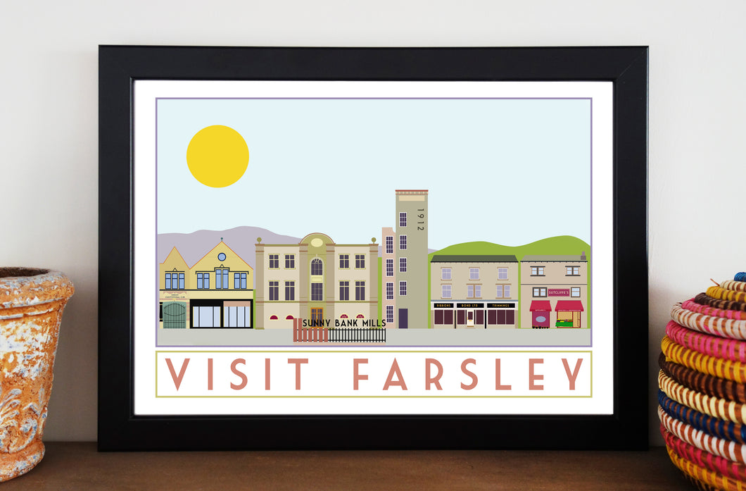 Farsley Travel inspired poster print - Sweetpea & Rascal - Yorkshire prints - Yorkshire scenes and landmarks