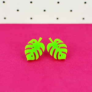 Monstera Leaf Stud Earrings - Acrylic Earrings  - Wooden Earrings - Silly Loaf - Bright and colourful