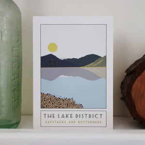 Haystacks and Buttermere Lake District greetings card - tourism poster inspired - Sweetpea and Rascal