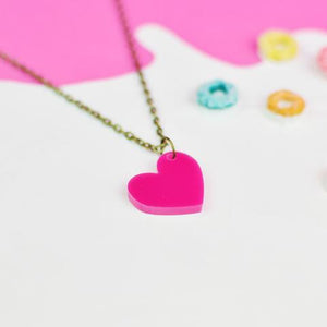 Heart Necklace - Acrylic Heart shaped necklace - Silly Loaf - Bright and colourful